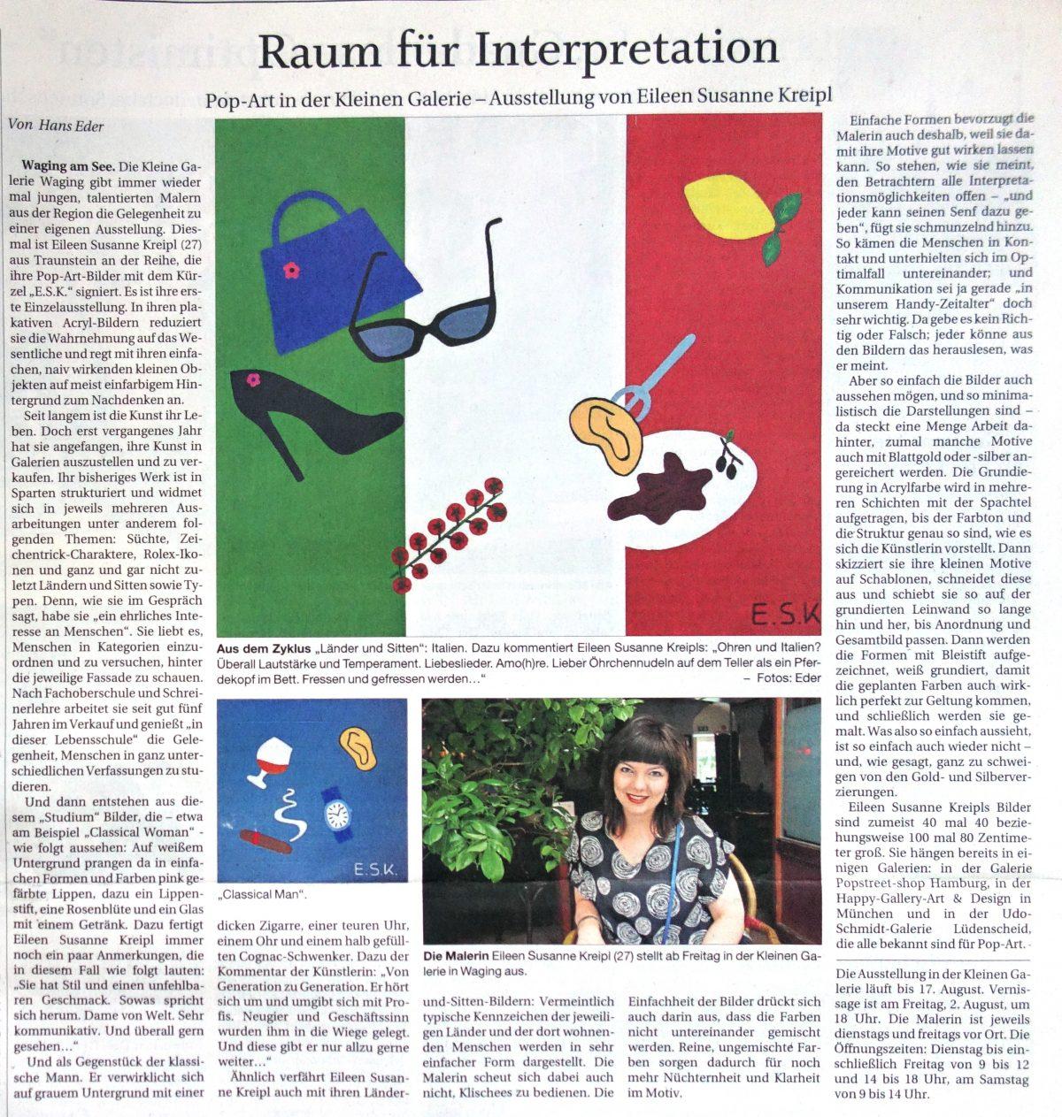 Newspaperarticle E.S.K. Eileen Susanne Kreipl