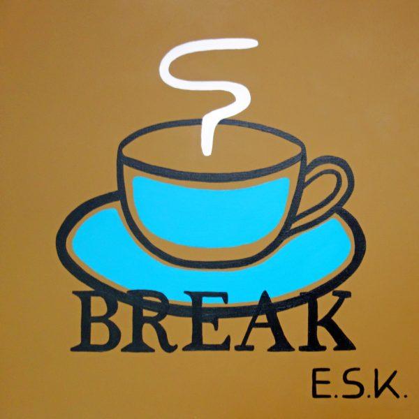 Coffee Break - E.S.K. pop art - Kunst von Eileen Susanne Kreipl 30 x 30 x 4 cm