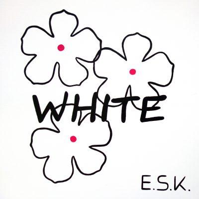 White- Blütenweiß -Weiß - E.S.K. pop art - Kunst von Eileen Susanne Kreipl 30 x 30 x 4 cm